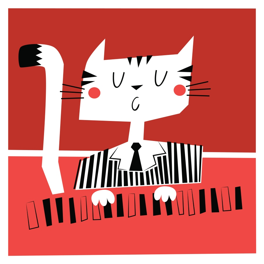 Illustration of a cat plaing the piano